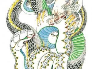 カレンダー7月,8月『龍と蛇』