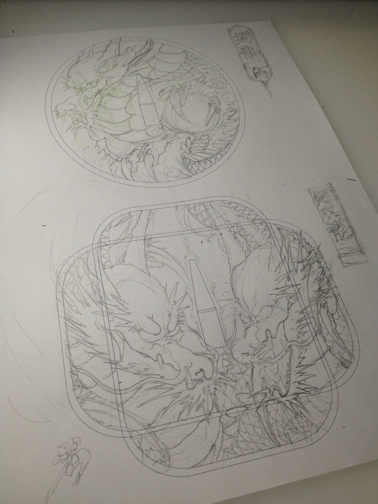 日本刀の鍔の龍の絵のラフイメージ