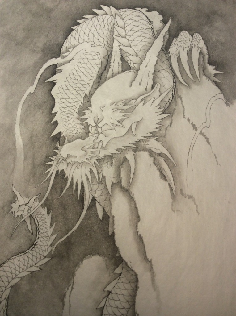 2015年3匹目の龍 水墨画の画像