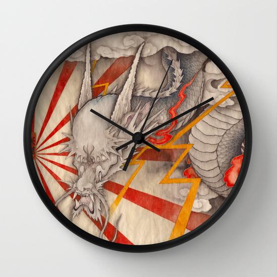 雲龍圖 黒龍 天道 -cloud dragon-の壁掛け時計