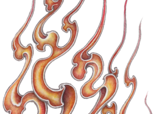 Fire pattern sticker of Japan typeA