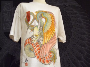 Japanese tattoo style T-shirt  WING DRAGON (white)