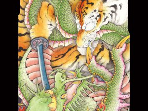 Japanese iPhone case Tiger vs dragon.