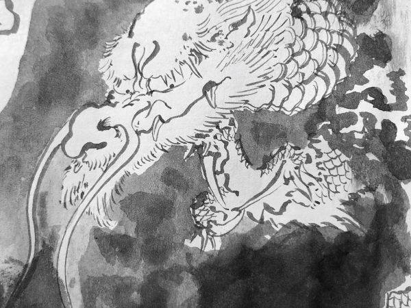 Rough sketch dragon ink painting