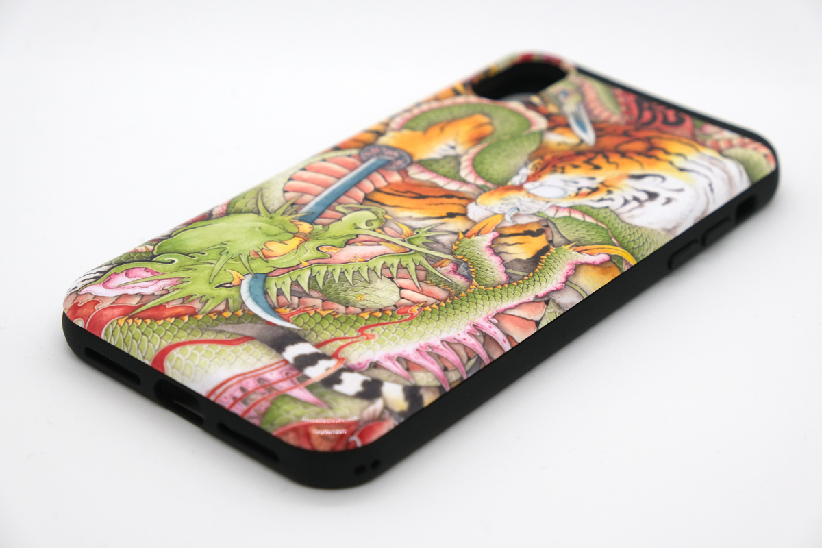 和柄iPhoneケース『龍虎図』の画像