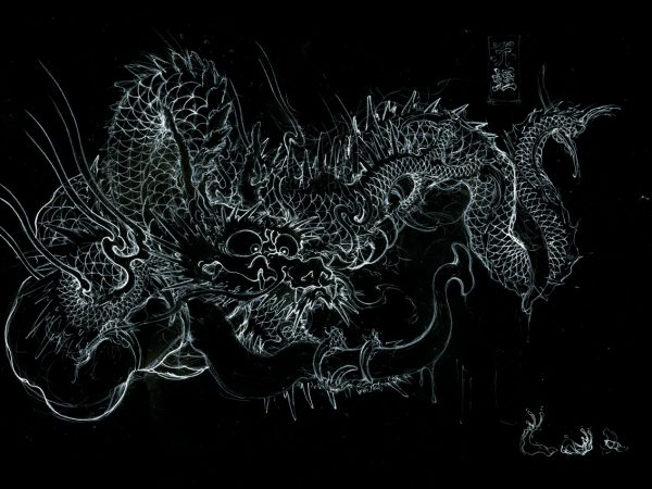 (日本語) 『笄蛭(コウガイヒル)と龍』 下絵