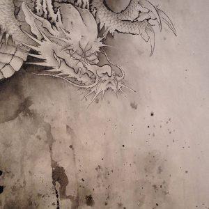 即興で水墨画 『龍』