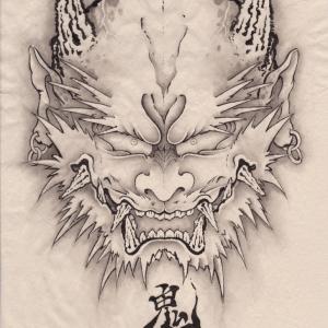 A Demon face節分だ。水墨画で鬼面を描こう。