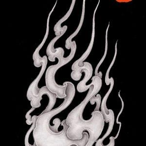 Elf fire.I designed Fire pattern of Japan和柄デザイン ファイヤーパターン 鬼火 -白炎-