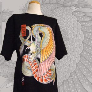 Japanese tattoo style T-shirt  WING DRAGON (black)和柄Tシャツ『応龍』(黒)