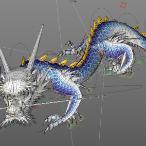 Japanese tattoo dragon baby in c4d rig